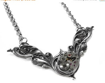 Steampunk Jewelry Necklace Silver Vintage Watch Floral in WOLFRAM Fashion Magazine WEDDING Anniversary Mothers Day - Steampunk by edmdesigns