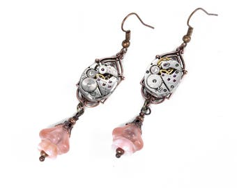 Steampunk Jewelry, Steampunk Earrings ELGIN Watch Copper Pink Peach Bell Flowers Dangle ART DECO Wedding Mothers Day - Jewelry by edmdesigns
