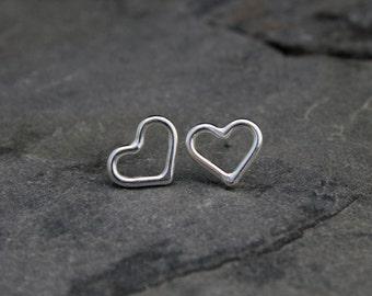 Heart Earrings Sterling Silver Valentine Stud Post Earrings, Love Talisman Symbol Valentine Romantic Gift, Handmade Hearts, Minimalist Style
