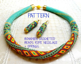 Bohemian crocheted beads rope and bonus Pattern