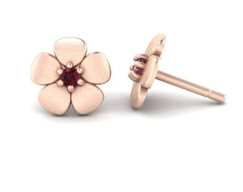 January Birthstone Earrings with Garnet Flowers in 14k White, Yellow, or Rose Gold - Flower Girl Gift - Laurie Sarah Flower Jewelry - LS4648