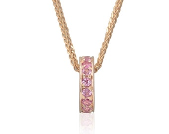 Pink Sapphire Pendant - October Birthstone Mother's Pendant in 14k Rose Gold - Chain Not Included - Circlet Collection - LS3193