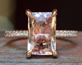 "Morganite Engagement Ring - 7x11mm Radiant Solitaire ""Beverly"" Ring by Laurie Sarah - LS5090"