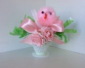 Easter Decoration Shabby Chic Chick in a Vintage Easter Basket  Easter Decoration Easter Ornament for Easter Party