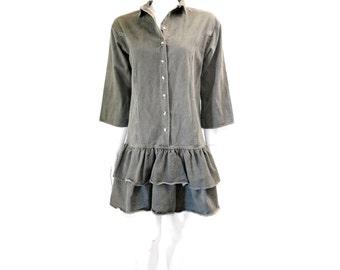 Vintage Grey Denim Dress Ruffle Mini Dress// 80s Cotton Jeans Mini Dress// Grey Cotton Denim Mini Dress// 132