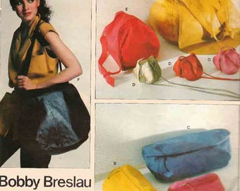 Original Vintage Bobby Breslau Handbag Saddlebag Sewing Pattern Vogue American Designer 2184 Two Purses in Three Sizes UNCUT
