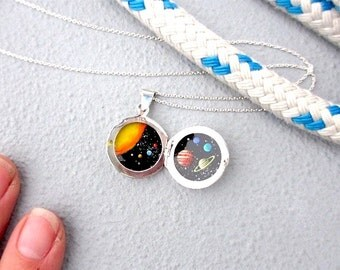 Tiny Solar System Silver Locket, Oil Enamel Miniature Painted Necklace