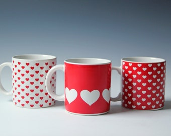3 Vintage red and white heart coffee mugs - coffee cups set - valentine gift - excellent condition
