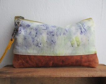Zipper clutch purse ethically made / plant dyed catchall toiletry storage bag Field Notes Marigold Violet Eco Dyed honeymoon cosmetic case