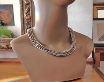 Silver Napier Necklace VIntage 60s Modernist Necklace