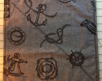 """Nautical Themed Pocket Square 12"""" by 12"""" -Anchors- Sailor Knots-Compass"""