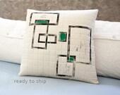 Pillow Quilted Handprinted 17x17 Toss Pillow Neutral Decor Geometric Print Hostess Gift for Him Her Gift White Linen Zip