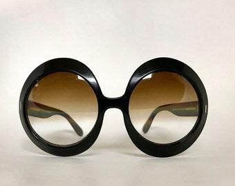 Vintage 1960s Huge Black Round Sunglasses Made in France