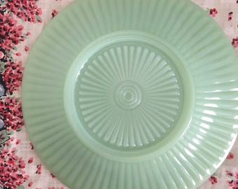Vintage Fire King Jadeite Jane Ray Saucer, Rayed Bottom, Unmarked Green Milk Glass