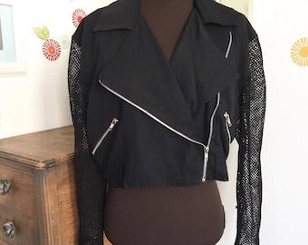 Vintage Moto Jacket, Cropped Mesh Jacket, 1980's Style Bolero