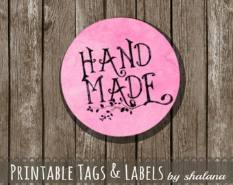 "Printable PDF 1.5 inch Circle Labels - Whimsical ""Hand Made"" Text on PINK Watercolor Style Background - Great for Craft Shows and Gifts"