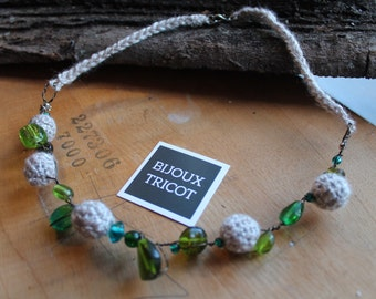 Spring green necklace, Bijoux Tricot, cotton beads, crochet, beige, turquoise, olive green, one of a kind