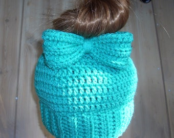 Bun Beanie - Pony Tail Hat - Messy Bun Bow Hat - Wood Button - Womens Beanie - Messy Hair Hat - No Seam - Greenery  Green  - Ready To Ship
