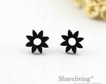 4pcs (2 pairs) Mini Black Sun Charm / Pendant,  Tiny Black Sunshine, Perfect for Stud Earring, Post Earring - WED098
