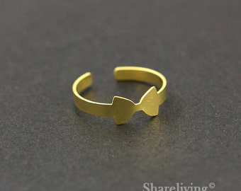 2pcs Raw Brass Bow Ring, Adjustable Bow Tie Brass Rings - TR013
