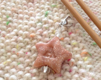 Star letter knitting progress keeper, knitting supplies, zipper pull charm, personalized gifts for knitters, initial progress keepers