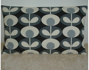 "Orla Kiely Bolster Pillow Cover 12x20 Oval Flower Cool Grey 20""x12"" Oblong Accent Throw Cushion Case Sham Slip Retro Vintage Look 1970s Gray"
