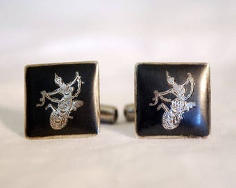 Niello Sterling Cufflinks, Siam Silver Mens' Jewelry, Vintage Nielloware, Thai Dancer Cufflinks, Sterling Silver, Thailand, Fathers Day Gift