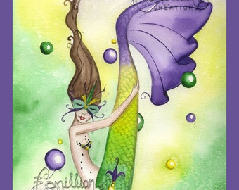 Mardi Gras Mermaid  Print from Original Watercolor Painting by Camille Grimshaw