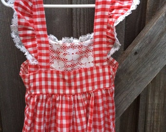 Red gingham dress | Etsy