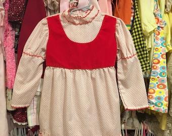 1960s Red Velvet Dress 4/5T