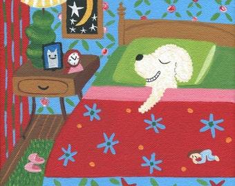 White Dog in Bed Art Print - Whimsical Outsider Folk Artwork - Poodle Bichon Frise Havanese Maltese Bedroom Wall Decor Artwork
