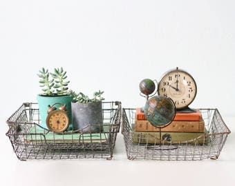 Vintage Wire Baskets, In Out Industrial Baskets, Set of 3, Crinkle Wire, Acme Wire Basket