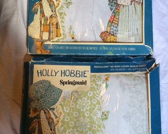 Vintage Holly Hobbie full size flat and fitted sheets MIB
