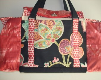 Deluxe Knitting/Crochet Tote Bag/Project Bag/Yarn Organizer-RED HOTS