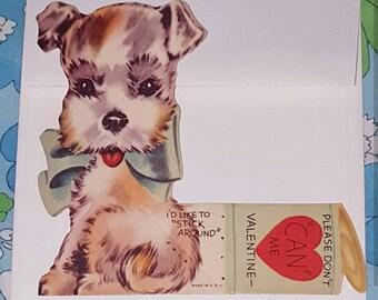Cute vintage Puppy Valentine Card with envelope