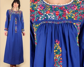 ViNtAgE 60's 70's Floral Oaxacan Mexican Embroidered Maxi Dress // Cotton Handmade Artisan Hippie BoHo Wedding Summer Blue Medium M