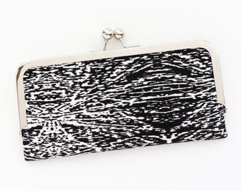 Black and White Cell Phone Wallet Clutch with Kisslock Frame Closure in Abstract Graphic Lines Printed Cotton