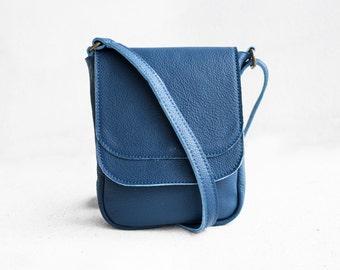 Mini Crossbody Bag in Steel Blue/ Crossbody Bag / Blue Bag / Messenger bag / Blue Leather Bag / Leather Satchel / Leather purse