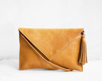 Leather Clutch in Butterscotch, Evening Leather Clutch, Leather Clutch Bag, Envelope Clutch, Brown Bag, Brown Leather Bag, Wedding Clutch