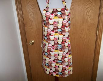 Cupcake, Apron, Full, Reversible, Front Pocket, Cup Cakes, Novelty Apron, Cooking Apron, Adjustable Neck Strap