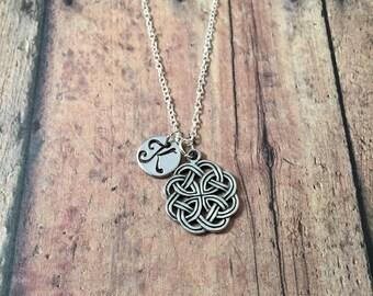 Celtic knot initial necklace - celtic knot jewelry, Irish knot necklace, Gaelic jewelry, Irish jewelry, silver Celtic knot necklace