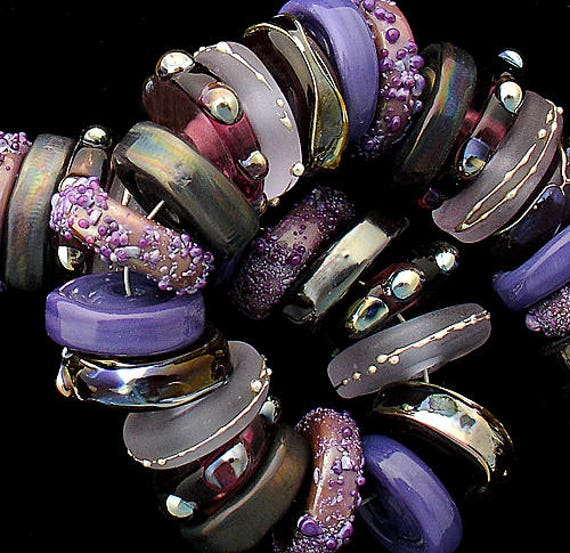 DSG Beads - Debbie Sanders Glass Artisan Handmade Organic Lampwork - Made To Order ~Shades of Purple~ Chunky Disc Set