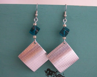 Aluminum and blue glass earrings, handcrafted metalwork jewelry, aluminum jewelry, light weight earrings- CLEARANCE