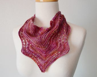 Spring Feverish 2 - Hand Knit Lace Wave Motif Kerchief - Mini Scarf/Triangle Scarf - Soft Wool, Copper Tone Button, Ready to Ship! Sample 2
