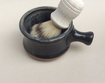 handmade apothecary shaving mug, bowl, black, pottery, ceramic, stoneware, handmade and ready to ship, M36