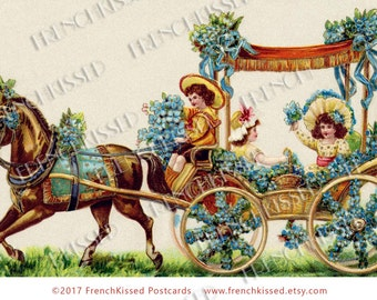 Horse Pulling Wagon of Children with Blue Flowers Easter Parade Antique French Postcard Digital Printable