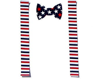 4th Of July//Patriotic Bow Tie & Suspenders//Fabric Iron On Appliques