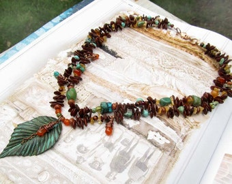 bohemian necklace gift for her brown necklace beaded Appleseed Turquoise Boho jewelry