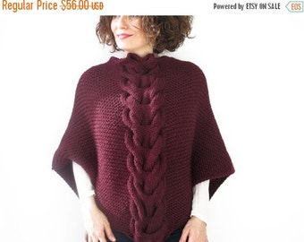 WINTER SALE Burgundy Shawl With Cable Knit by Afra