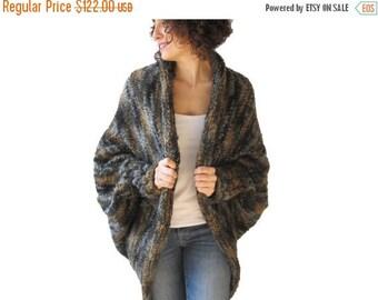 CLEARANCE 50% Chunky Green - Grey - Brown - Beige Wool Casual Cardigan
